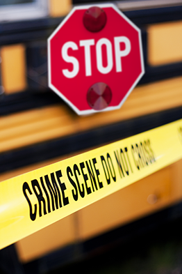 School Bus with Stop Sign and Crime Scene Tape
